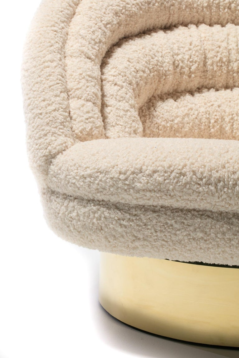 Pair of Vladimir Kagan Crescent Swivel Chairs in Ivory Bouclé with Brass Bases For Sale 14