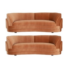 Pair of Vladimir Kagan Curved Sofas