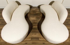 Pair of Vladimir Kagan for American Leather Curved 'Zoe' Sofas in Bouclé, Signed