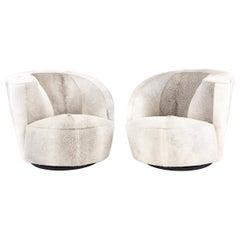 Pair of Vladimir Kagan for Directional Nautilus Chairs in Brazilian Cowhide