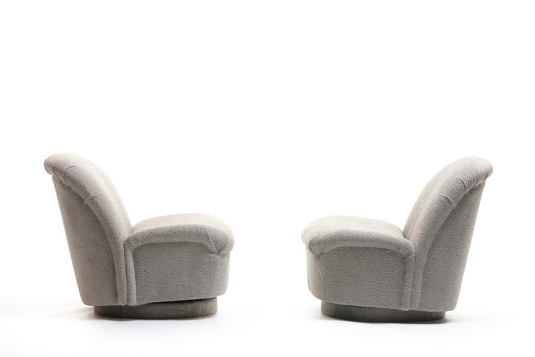 American Pair of Vladimir Kagan for Directional Swivel Lounge Chairs in Faux Persian Lamb For Sale