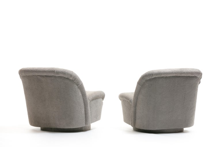Pair of Vladimir Kagan for Directional Swivel Lounge Chairs in Faux Persian Lamb In Good Condition For Sale In Saint Louis, MO