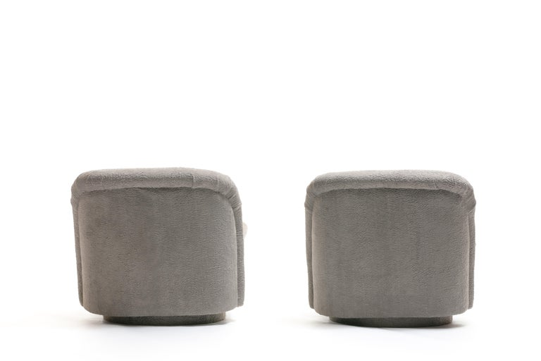 Late 20th Century Pair of Vladimir Kagan for Directional Swivel Lounge Chairs in Faux Persian Lamb For Sale