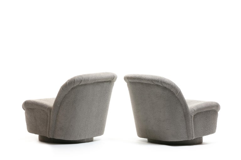 Faux Fur Pair of Vladimir Kagan for Directional Swivel Lounge Chairs in Faux Persian Lamb For Sale