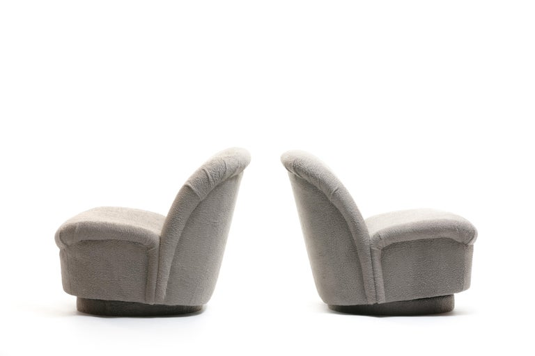 Pair of Vladimir Kagan for Directional Swivel Lounge Chairs in Faux Persian Lamb For Sale 1
