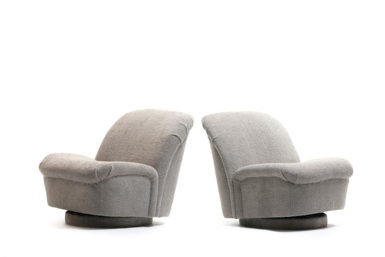 Pair of Vladimir Kagan for Directional Swivel Lounge Chairs in Faux Persian Lamb For Sale 2
