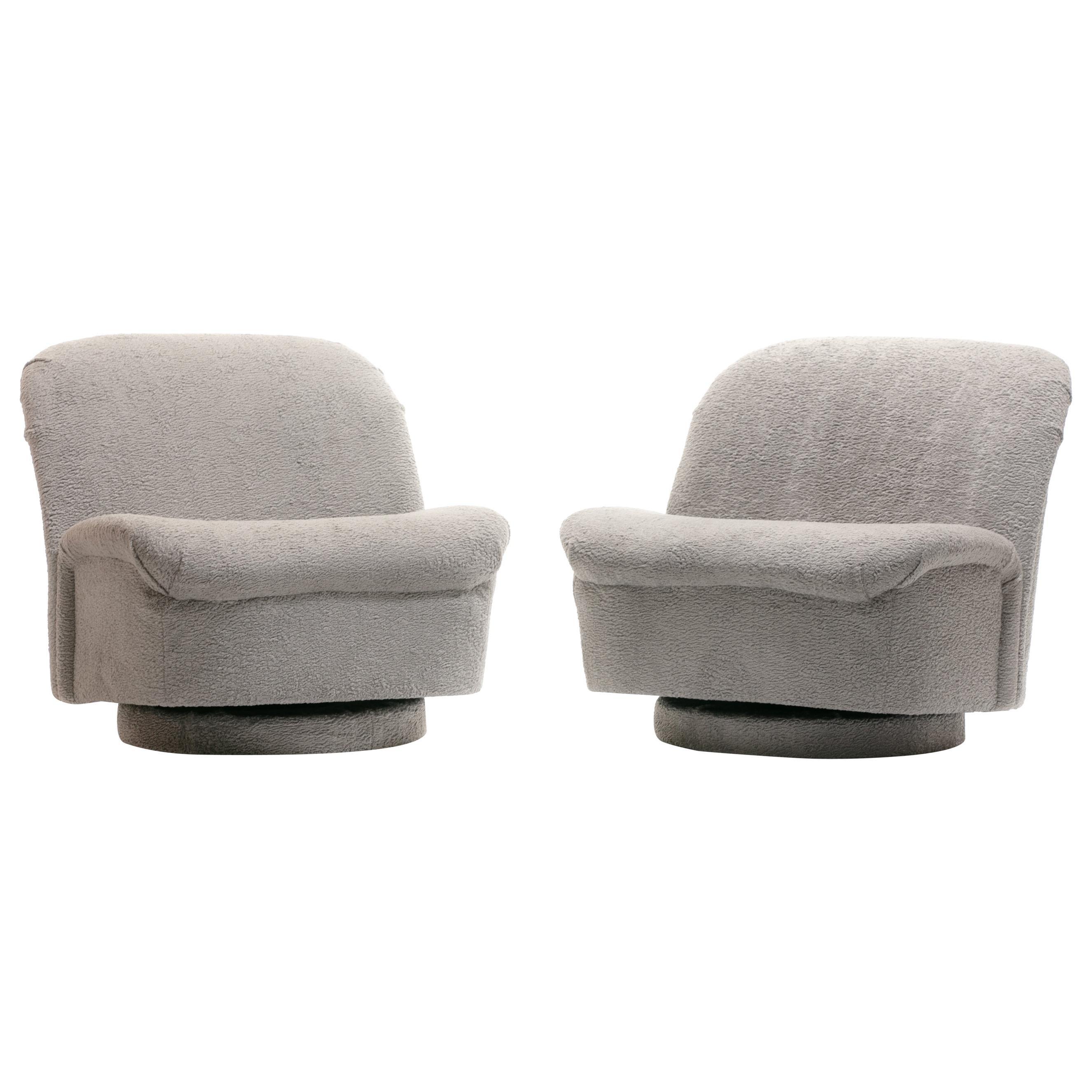 Pair of Vladimir Kagan for Directional Swivel Lounge Chairs in Faux Persian Lamb