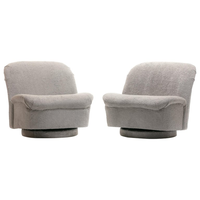 Pair of Vladimir Kagan for Directional Swivel Lounge Chairs in Faux Persian Lamb For Sale