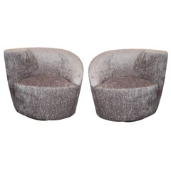 "Pair of Vladimir Kagan ""Nautilus"" Swivel Chairs in Gauffraged Silver Velvet"