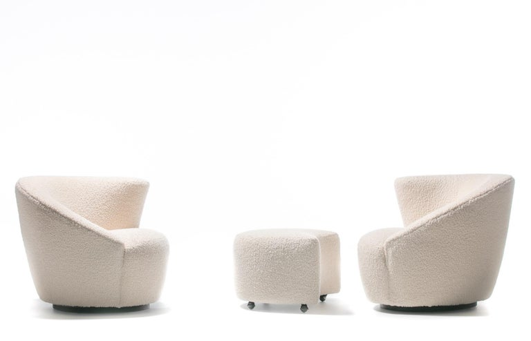 Pair of Vladimir Kagan Nautilus Swivel Lounge Chairs and Ottoman in Ivory Bouclé In Good Condition For Sale In Saint Louis, MO