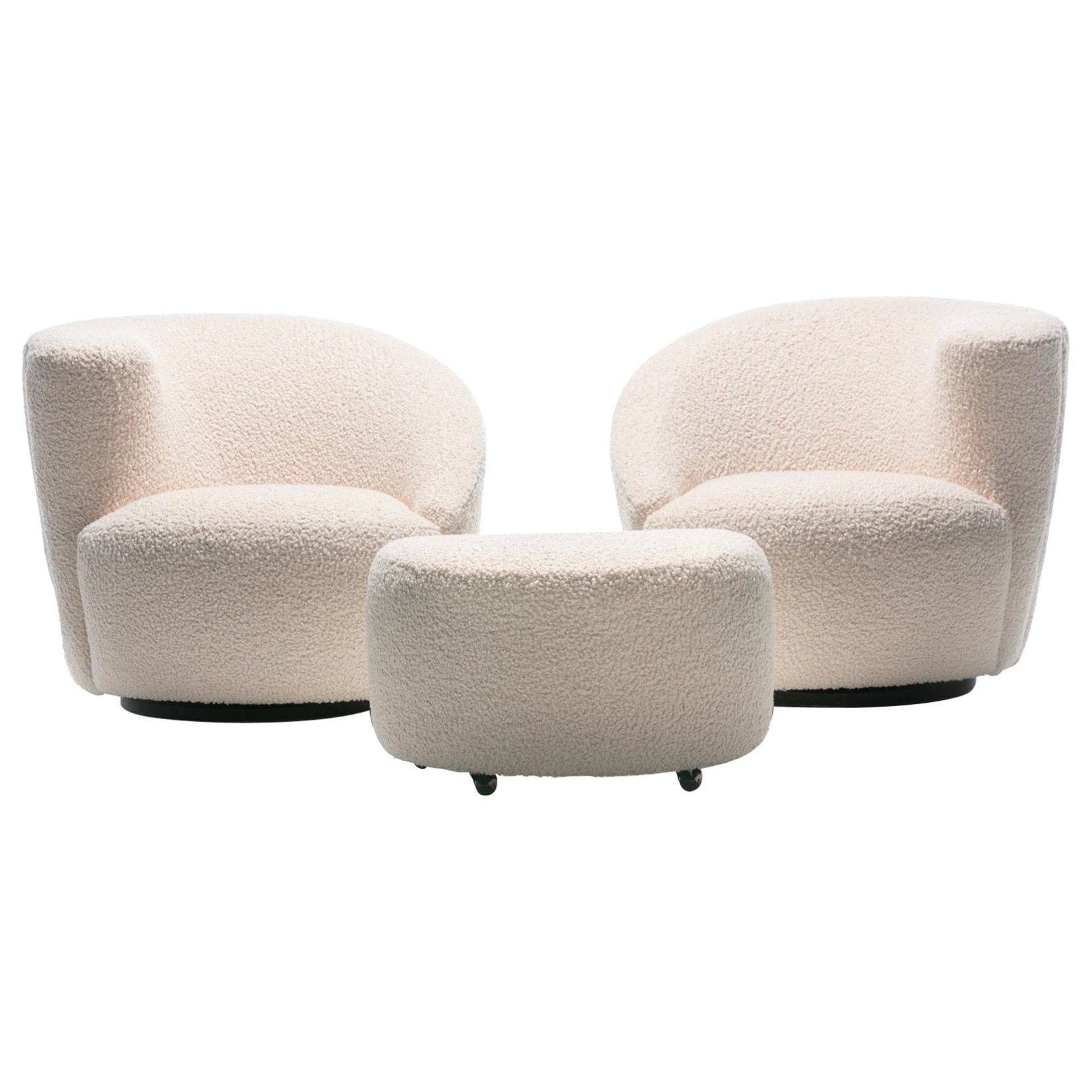 Pair of Vladimir Kagan Nautilus Swivel Lounge Chairs and Ottoman in Ivory Bouclé