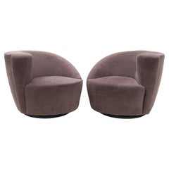 Pair of Vladimir Kagan Nautilus Swivel Lounge Chairs for Directional
