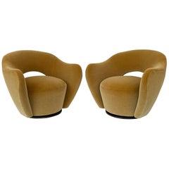Pair of Vladimir Kagan Open Back Swivel Lounge Chairs for Directional