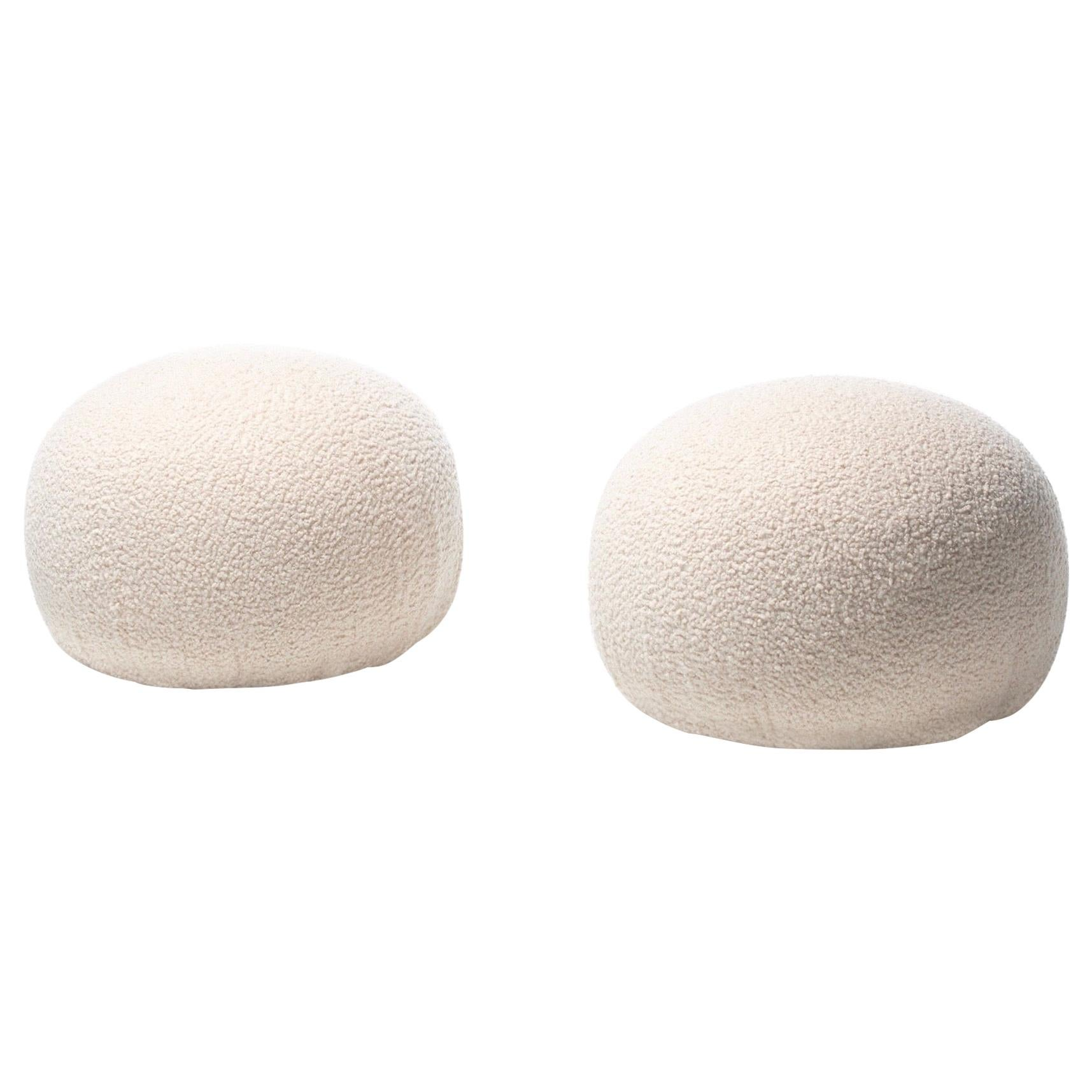 Pair of Directional Poufs Ottomans in Ivory white Bouclé