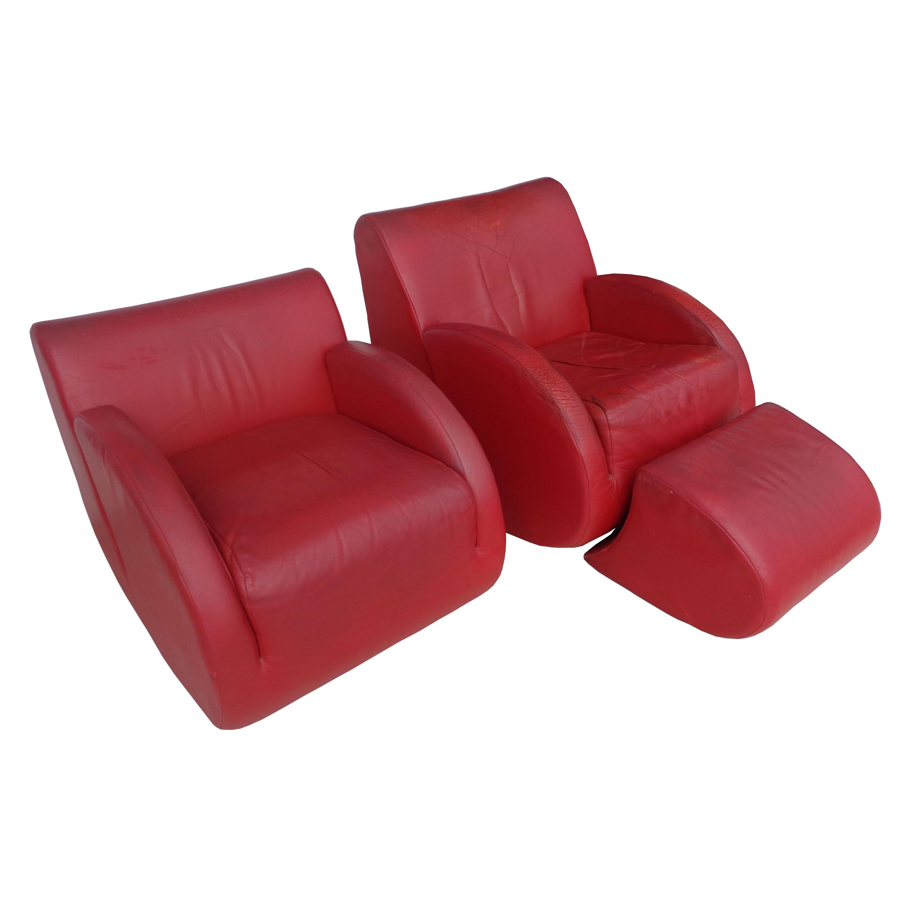 """Pair of Vladimir Kagan """"Rock Star"""" His and Her Lounge Chairs and Ottoman"""