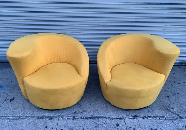 Late 20th Century Pair of Vladimir Kagan Swivel Chairs for Directional