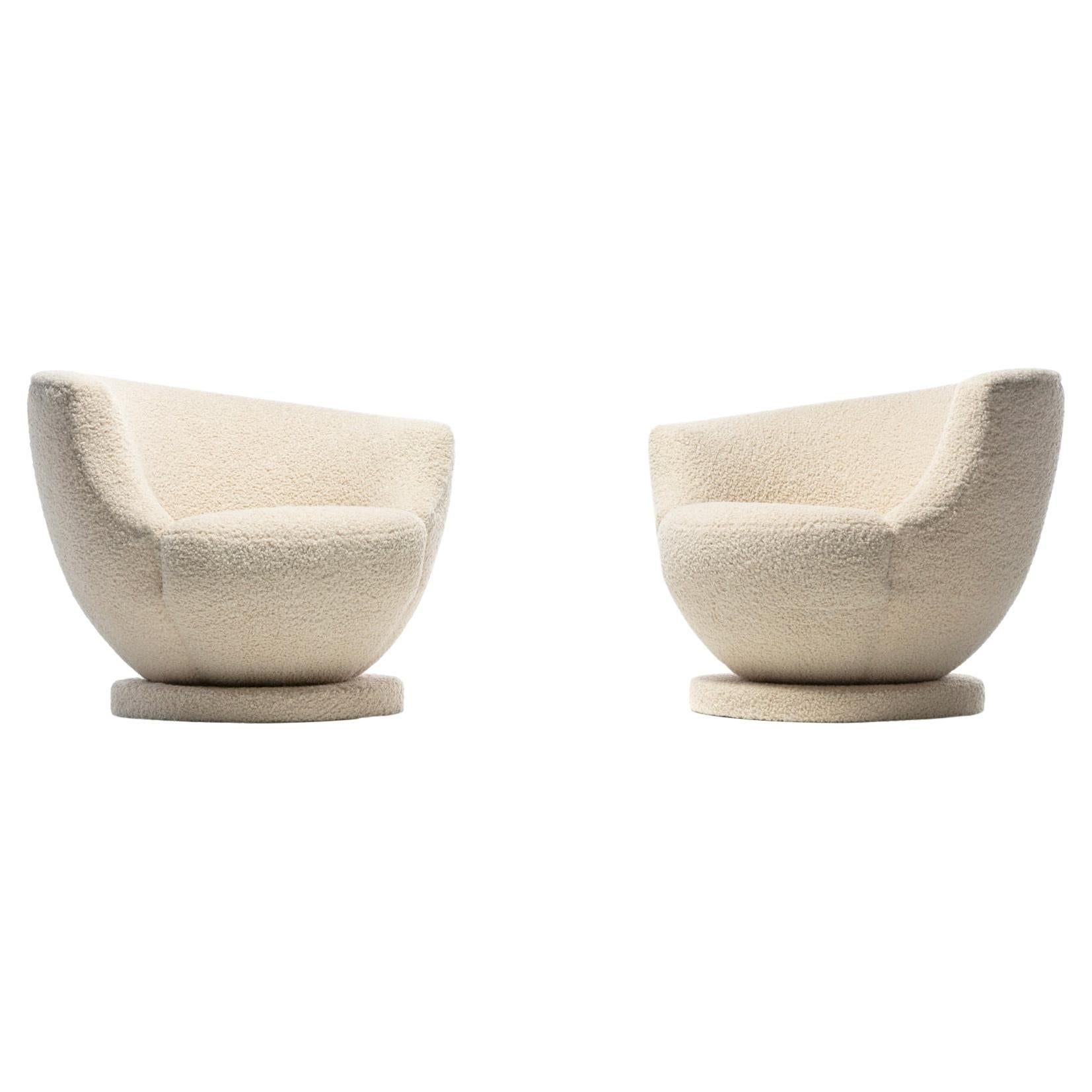 Pair of Vladimir Kagan Swivel Chairs in Ivory Bouclé by Directional