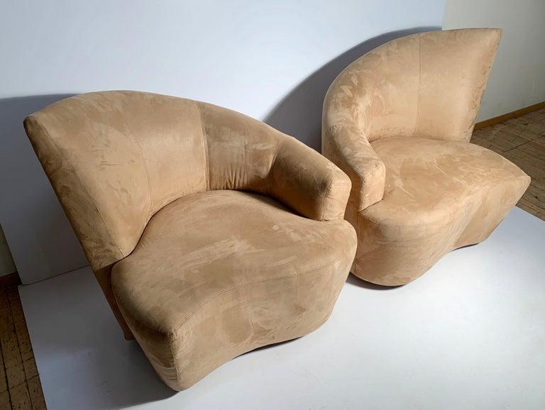 American Pair of Vladimir Kagan Weiman Preview Bilbao Swivel Lounge Chairs