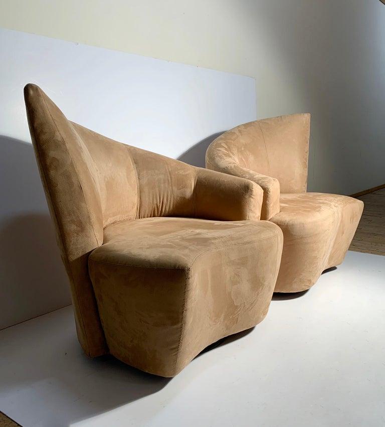 20th Century Pair of Vladimir Kagan Weiman Preview Bilbao Swivel Lounge Chairs