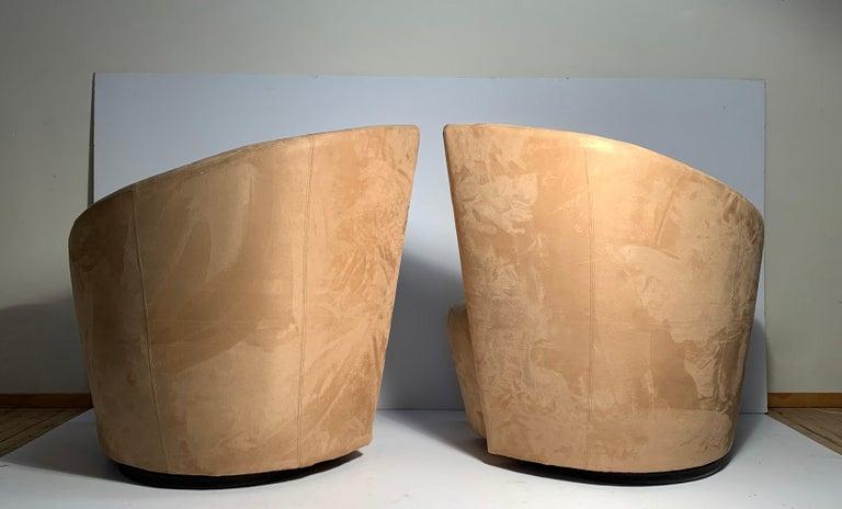 Upholstery Pair of Vladimir Kagan Weiman Preview Bilbao Swivel Lounge Chairs