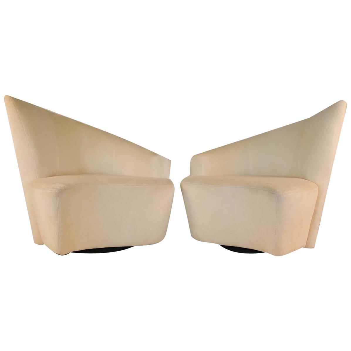 Pair of Vladimir Kagan Weiman Preview Bilbao Swivel Lounge Chairs