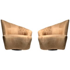 Pair of Vladimir Kagan Weiman Preview Bilbao Swivel Lounge Chairs
