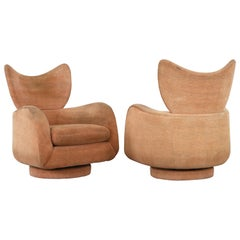 Pair of Vladimir Kagan Wingback Swivel Chairs, 1980s
