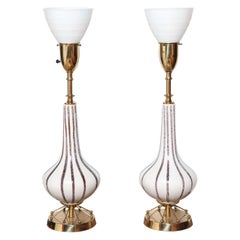 Pair of Vontury for Rembrandt Lamp Co. Hand Painted Ceramic Table Lamps