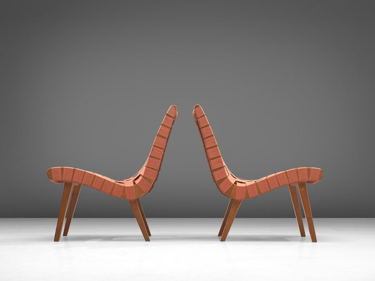 Mid-Century Modern Pair of 'Vostra' Chairs with Ottoman by Jens Risom For Sale