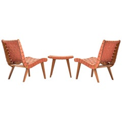 Pair of 'Vostra' Chairs with Ottoman by Jens Risom