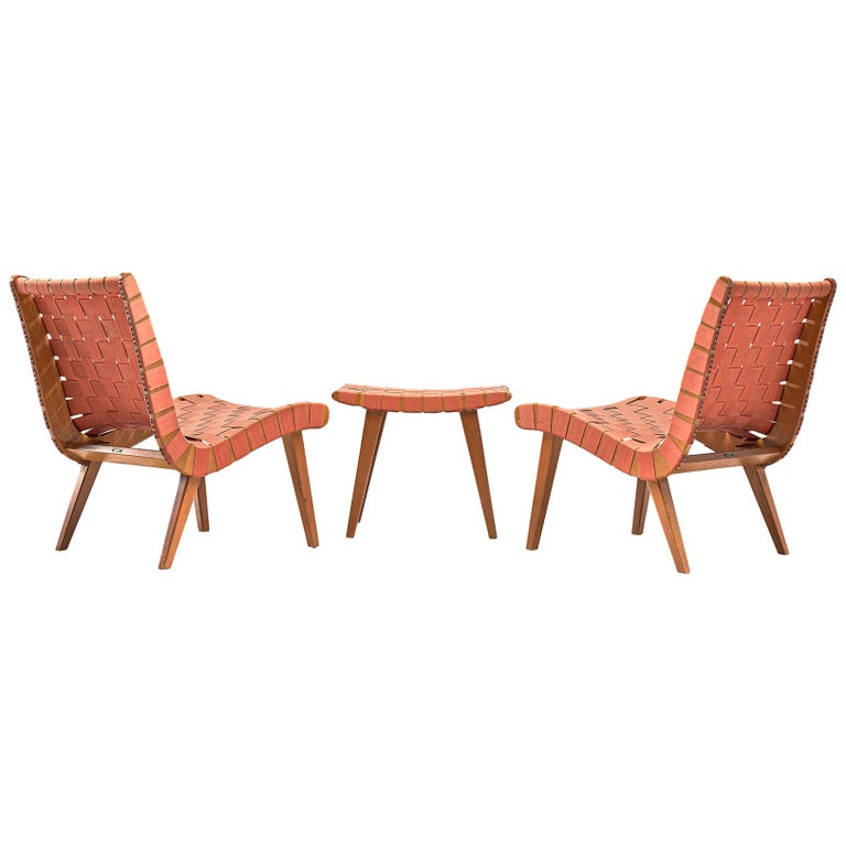 Pair of 'Vostra' Chairs with Ottoman by Jens Risom For Sale