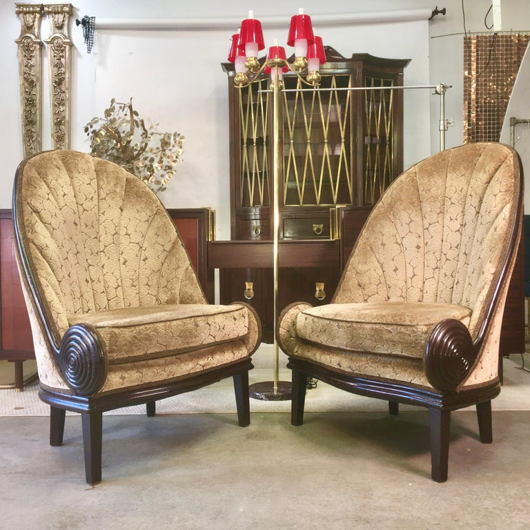 Pair of Waldorf Astoria NYC Lobby Chairs after Paul Iribe's Fauteuil Nautile For Sale 9