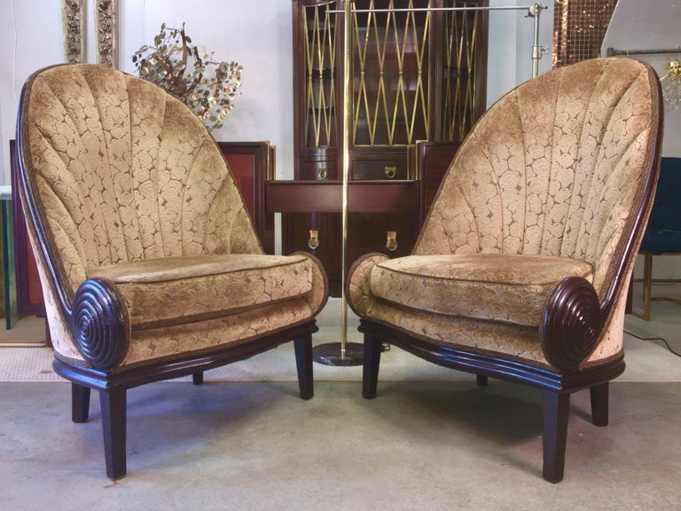 Pair of Waldorf Astoria NYC Lobby Chairs after Paul Iribe's Fauteuil Nautile For Sale 10