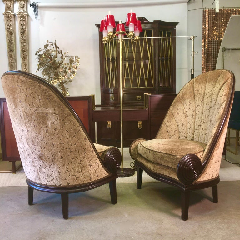 Pair of Waldorf Astoria NYC Lobby Chairs after Paul Iribe's Fauteuil Nautile For Sale 11
