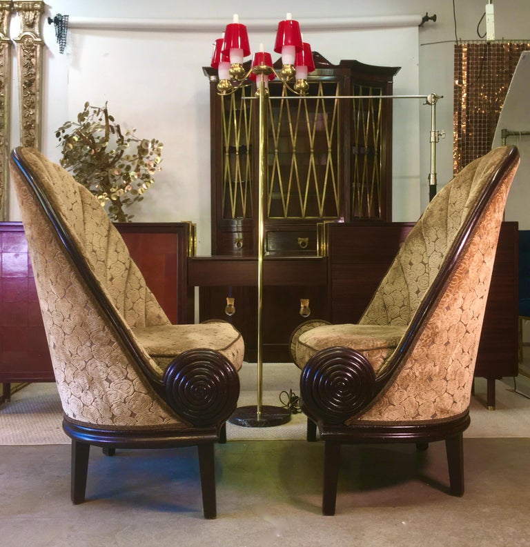 Stained Pair of Waldorf Astoria NYC Lobby Chairs after Paul Iribe's Fauteuil Nautile For Sale