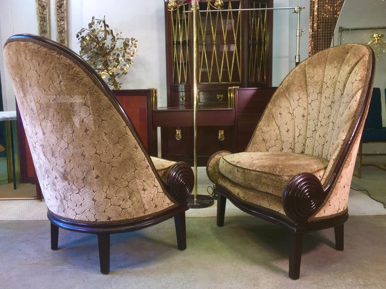 Pair of Waldorf Astoria NYC Lobby Chairs after Paul Iribe's Fauteuil Nautile In Good Condition For Sale In Hingham, MA