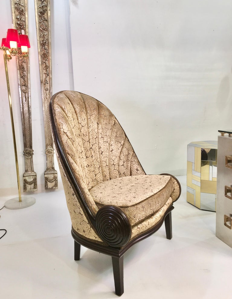Contemporary Pair of Waldorf Astoria NYC Lobby Chairs after Paul Iribe's Fauteuil Nautile For Sale