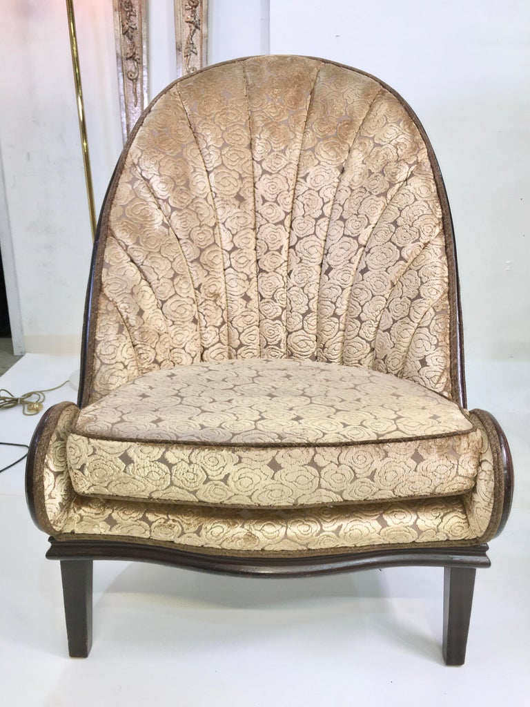 Walnut Pair of Waldorf Astoria NYC Lobby Chairs after Paul Iribe's Fauteuil Nautile For Sale