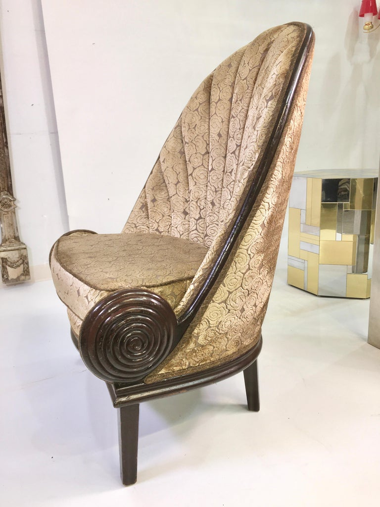 Pair of Waldorf Astoria NYC Lobby Chairs after Paul Iribe's Fauteuil Nautile For Sale 1