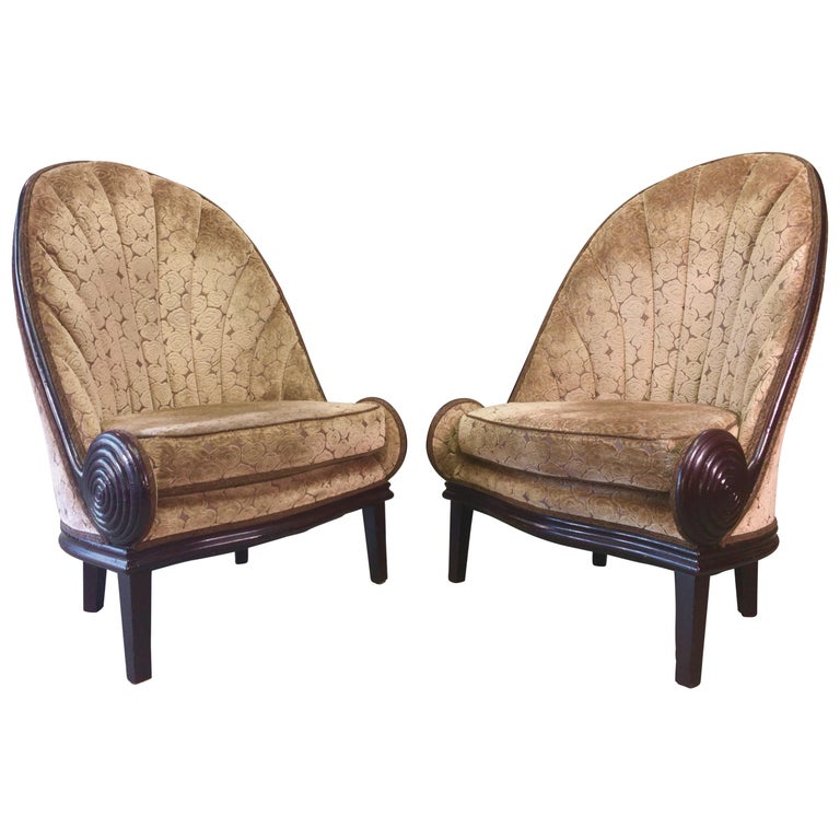 Pair of Waldorf Astoria NYC Lobby Chairs after Paul Iribe's Fauteuil Nautile For Sale