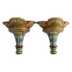 Pair of Wall Brackets Decorative Painted Gothic Revival, 20th Century