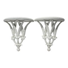 Pair of Wall Brackets Stylized Feathers Painted White