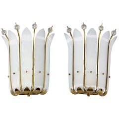 Pair of Wall Crystal Glass Sconces Designed Rupert Nikoll Vienna, 1950