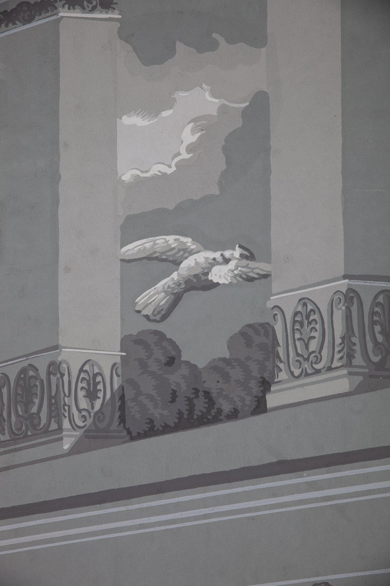 Pair of Wall Decoration 'En Grisaille' by Dufour, Paris, France, 19th Century For Sale 5