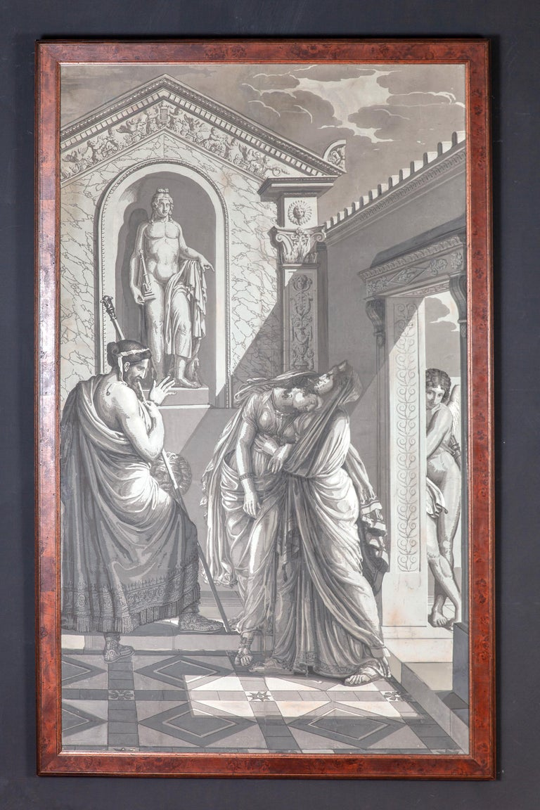 Empire Pair of Wall Decoration 'En Grisaille' by Dufour, Paris, France, 19th Century For Sale