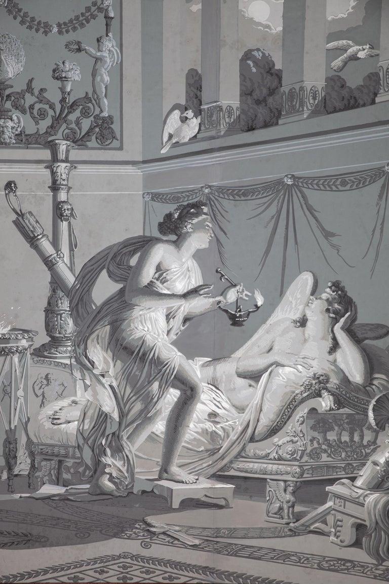 European Pair of Wall Decoration 'En Grisaille' by Dufour, Paris, France, 19th Century For Sale
