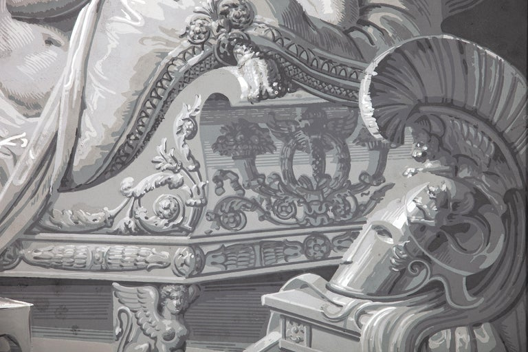 Pair of Wall Decoration 'En Grisaille' by Dufour, Paris, France, 19th Century In Good Condition For Sale In Rome, IT