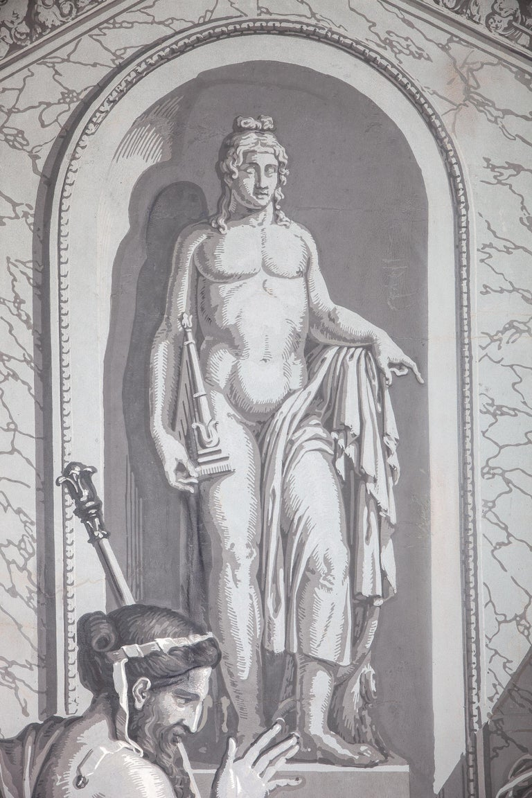 Paper Pair of Wall Decoration 'En Grisaille' by Dufour, Paris, France, 19th Century For Sale