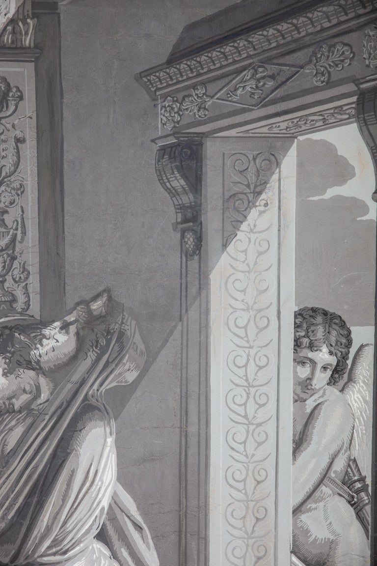Pair of Wall Decoration 'En Grisaille' by Dufour, Paris, France, 19th Century For Sale 2