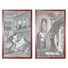 Pair of Wall Decoration 'En Grisaille' by Dufour, Paris, France, 19th Century